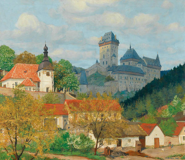 Painting - View Of Karlstejn Castle Near Prague by Tavik Frantisek Simon