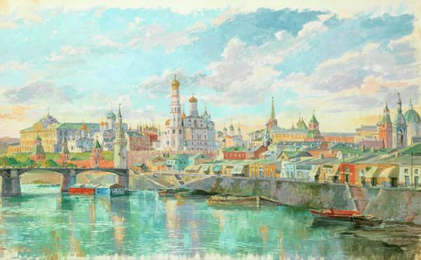 Russian River Painting - View Of Kremlin And Bolshoy Moskvoretsky Bridge In Spring by Nikolai Sergeevich Matveev