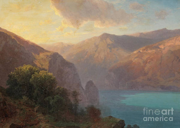 Tranquility Painting - View Of Lac De Lucerne Seen From The Seelisberg, Switzerland by Alexandre Calame