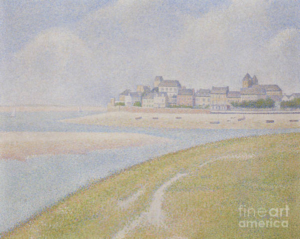 Wall Art - Painting - View Of Le Crotoy, From Upstream, 1889  by Georges Pierre Seurat