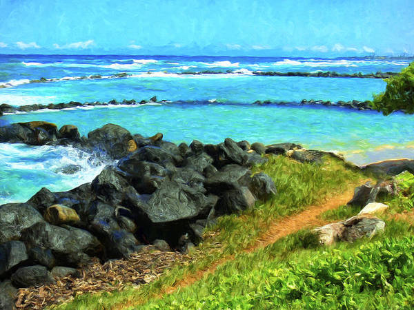 Painting - View Of Lydgate Beach Park Kauai by Dominic Piperata