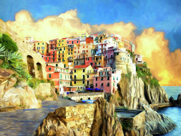 Lake Como Painting - View Of Manarola Cinque Terre by Dominic Piperata