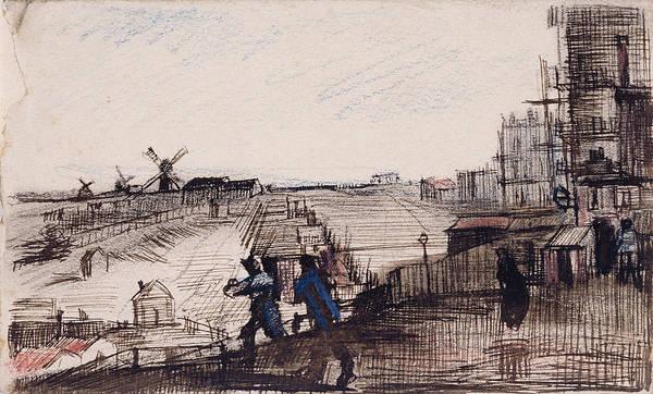 Parisian Cafe Painting - View Of Montmartre, 1886 by Vincent Van Gogh