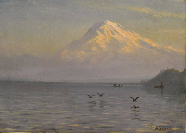 Mount Rainier Painting - View Of Mount Rainier With Fishermen by Albert Bierstadt