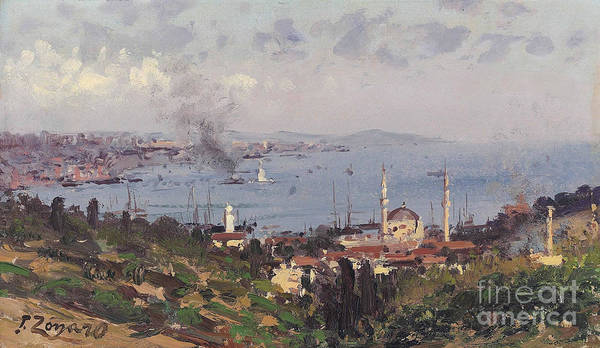 Fausto Zonaro Painting - View Of Nisantasi Bosphorous Constantinople by Celestial Images