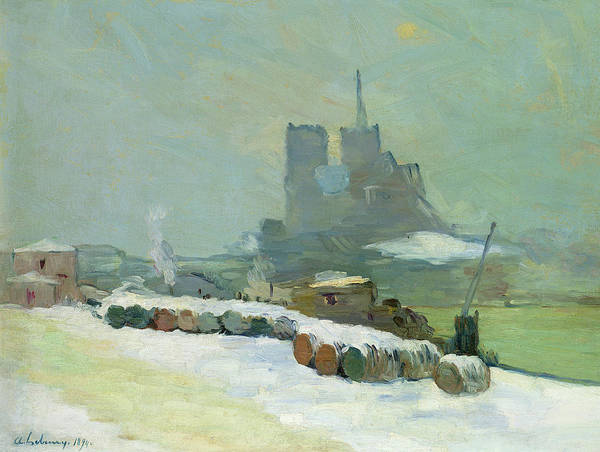 Snow Bank Painting - View Of Notre Dame, 1894 by Albert Charles Lebourg