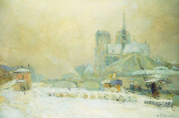 Notre Dame Painting - View Of Notre Dame, Paris, From The Quai De La Tournelle Snow Effect by Albert-Charles Lebourg