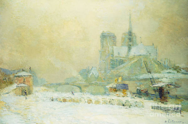 Wall Art - Painting - View Of Notre Dame, Paris, From The Quai De La Tournelle Snow Effect by Albert-Charles Lebourg