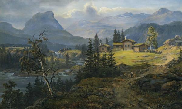 Painting - View Of Oylo Farm, Valdres by Johan Christian Dahl