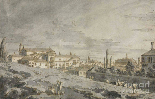 Wall Art - Painting - View Of Padua From Outside The City Walls With The Church Of San Francesco by Canaletto