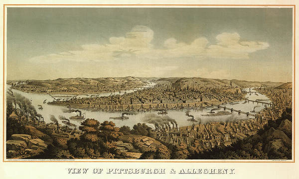Wall Art - Painting - View Of Pittsburgh And Allegheny by Otto Krebs