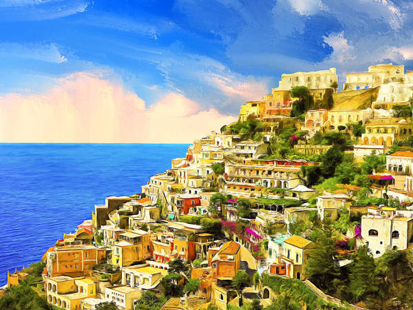 Painting - View Of Positano And Tyrrhenian Sea by Dominic Piperata