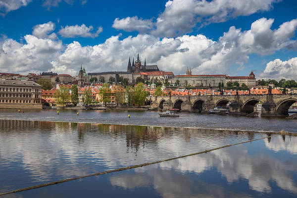 Wall Art - Photograph - View Of Prague Across The Vltava River With Prague Castle, Charl by Bridget Calip