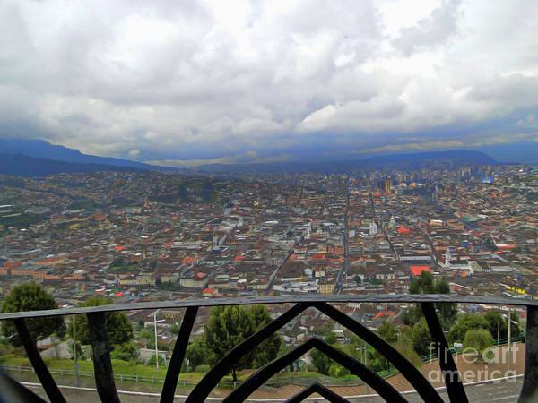 Wall Art - Photograph - View Of Quito From The Virgen - Painting by Al Bourassa