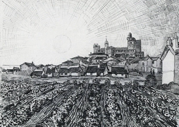 Narrow Street Painting - View Of Saintes-maries With Church And Ramparts, 1888 by Vincent Van Gogh