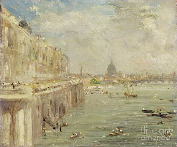 1837 Painting - View Of Somerset House Terrace And St. Paul's by John Constable