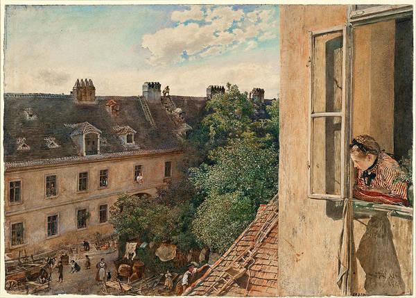 Tile Drawing - View Of The Alservorstadt 1872  by Rudolf von Alt