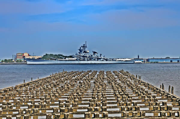 Photograph - View Of The Battleship New Jersey From Philadelphia by Bill Cannon