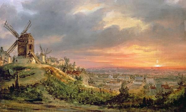 Butte Painting - View Of The Butte Montmartre by Louis Jacques Mande Daguerre