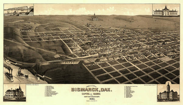 Wall Art - Painting - View Of The City Of Bismarck, Dak. Capital Of Dakota And County-seat Of Burleigh-county 1883 by Stoner