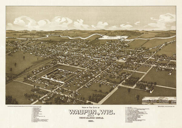 Wall Art - Painting - View Of The City Of Waupun, Wisconsi, Situated In Fond Du Lac And Dodge Counties by Wellge