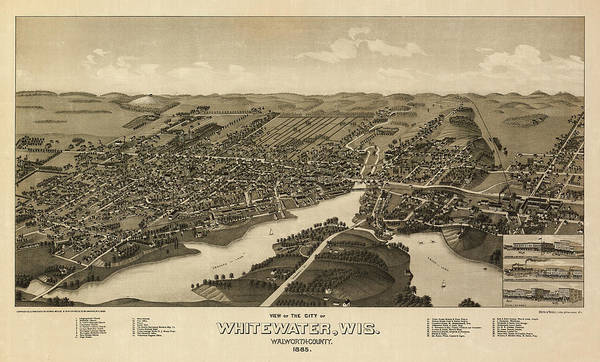 Wall Art - Painting - View Of The City Of Whitewater, Wis. Walworth-county 1855 by George Norris