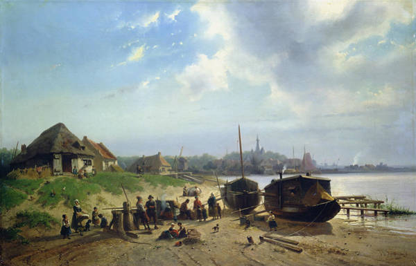 Mooring Painting - View Of The Dutch Coast by Johan Gerard Smits