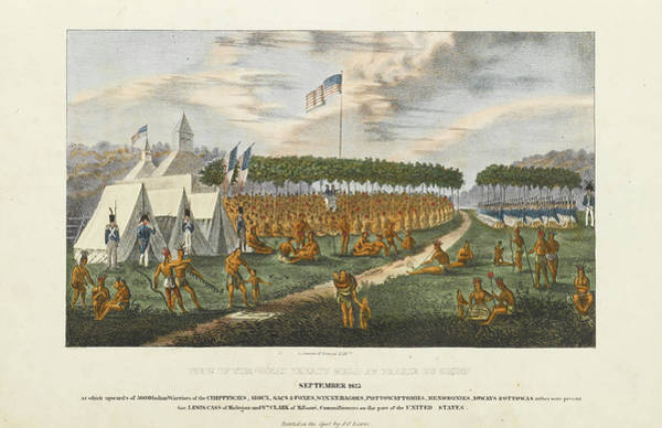 Chien Drawing - View Of The Great Treaty Held At Prairie Du Chien by James O Lewis