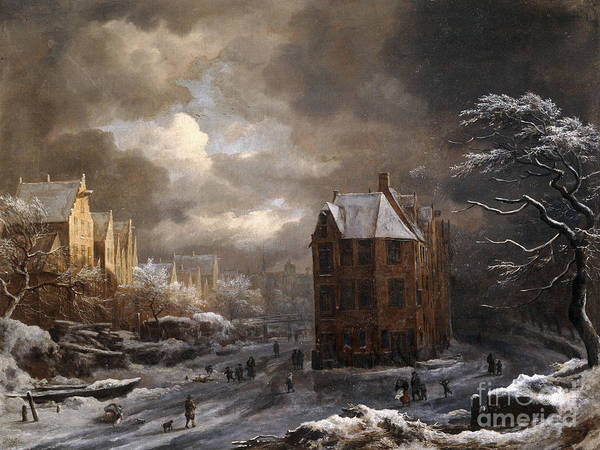 Old South Painting - View Of The Hekelveld, Amsterdam, In Winter, Looking South by Jacob Isaaksz Ruisdael