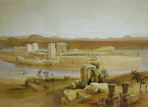 Philae Painting - View Of The Island Of Philae With Isis Temple And Trajan's Kiosk, In The Nile, Nubia by David Roberts