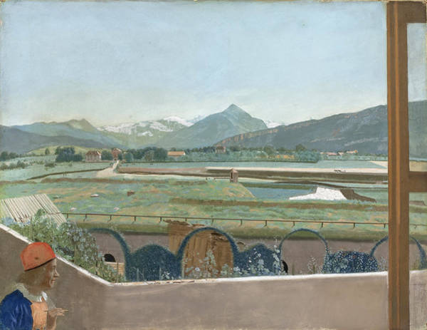 Jean Etienne Liotard Wall Art - Drawing - View Of The Mont Blanc Massif From The Artist's Studio In Geneva, With Self-portrait by Jean-Etienne Liotard