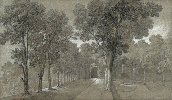 Woodland Drawing - View Of The Park At Arcueil by Jean Baptiste Oudry