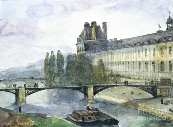 City Scene Painting - View Of The Pavillon De Flore Of The Louvre by Francois-Marius Granet