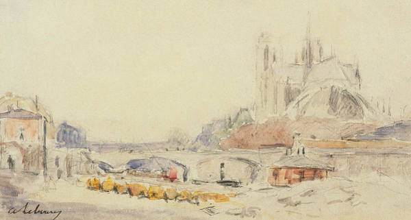 Wall Art - Painting - View Of The Pont De La Tournelle And Notre-dame De Paris by Albert Charles Lebourg