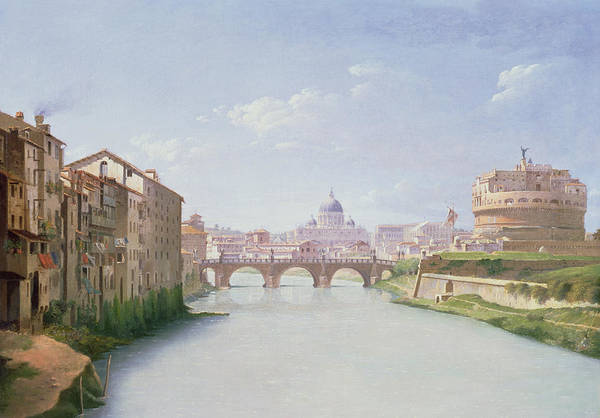 Tiber Wall Art - Painting - View Of The Ponte And Castel Sant'angelo In Rome by Christoffer-Wilhelm Eckersberg