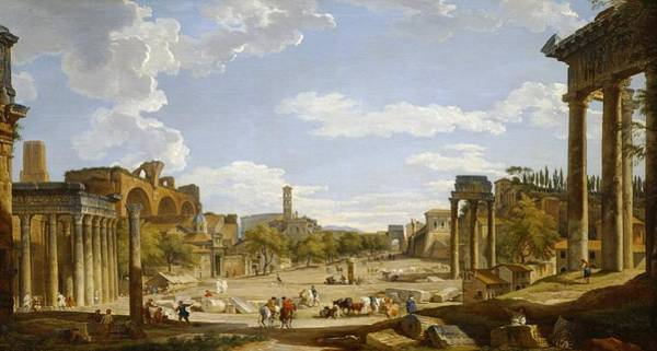 Past Painting - View Of The Roman Forum by Giovanni Paolo Panini