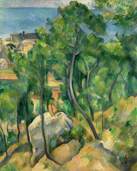 Sea Land Painting - View Of The Sea At L' Estaque by Paul Cezanne