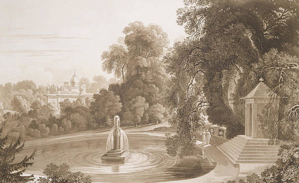 Wetland Drawing - View Of The Temple Of Suryah And The Fountain Of Mahah Doo by John Martin