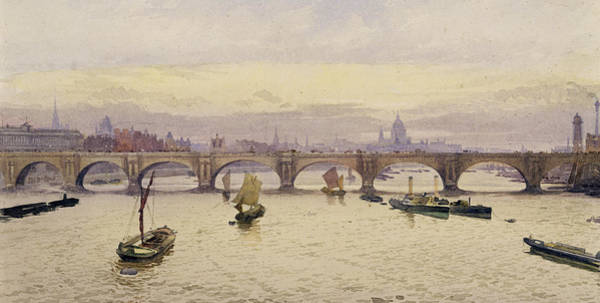 Traffic Painting - View Of Waterloo Bridge From Hungerford Bridge by John Crowther