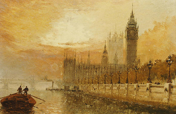 Clock Tower Painting - View Of Westminster From The Thames by Claude T Stanfield Moore