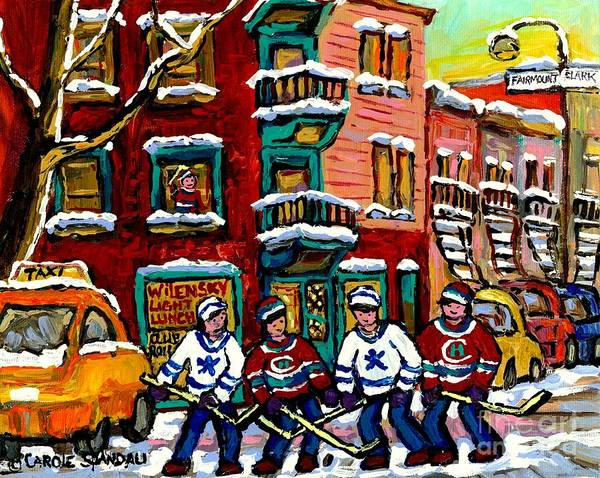 Painting - View Of Wilensky's Diner Winter City Scene Montreal Hockey Art Painting Carole Spandau               by Carole Spandau