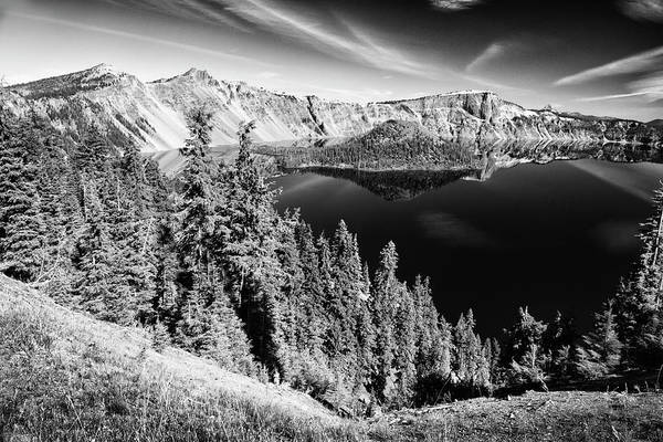 Photograph - View Of Wizard Island Crater Lake B W by Frank Wilson