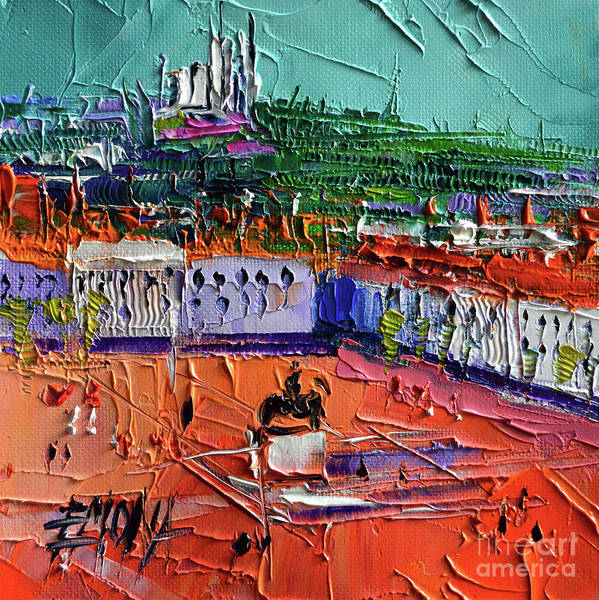 Wall Art - Painting - View Over Bellecour Square - Abstract Miniature Cityscape by Mona Edulesco