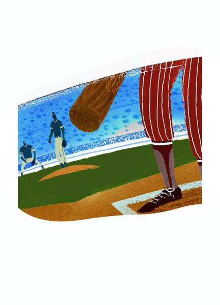 Bat Man Photograph - View Over Home Plate In Baseball Stadium by Gillham Studios