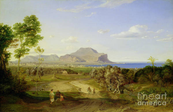 Mountain Range Painting - View Over Palermo by Carl Rottmann