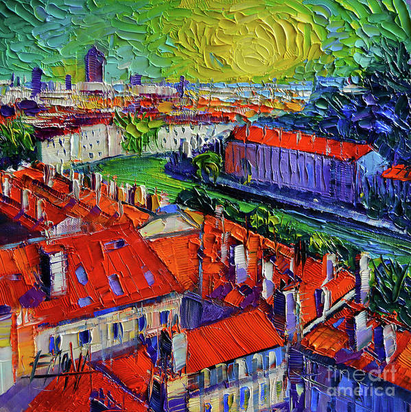 Vegetation Painting - View Over The City Of Lyon France by Mona Edulesco