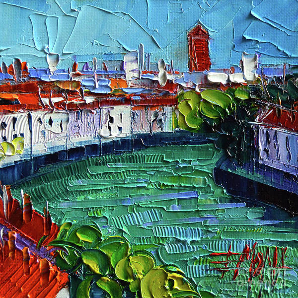 Wall Art - Painting - View Over The Saone River - Modern Impressionist Stylized Cityscape by Mona Edulesco
