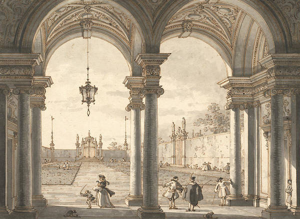Drawing - View Through A Baroque Colonnade Into A Garden by Canaletto