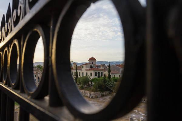Wall Art - Photograph - View Through Gate Of Church Behind Roman Agora In Athens, Greece by Iordanis Pallikaras