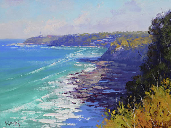 Blue Wave Painting - View To Norah Head Australia by Graham Gercken
